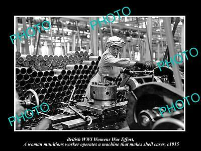 OLD LARGE HISTORIC PHOTO OF BRITISH WWI WOMENS WAR EFFORT, MAKING SHELLS c1915