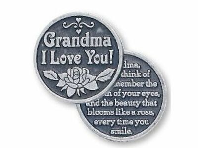 GRANDMA I LOVE YOU, Pocket Token with Message, 31mm Diameter, Metal Oxide