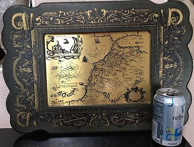 Mid-Century MASKETEER MAP ON BRASS Wall Hanging Framed Plaque-GIBRALTAR AFRICA