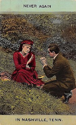 """""""Never Again"""" in Nashville Tennessee~Man Plead With Lady~1910 Postcard"""