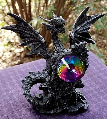 14Cm Black Dragon W/coloured Gem Statue - New Fantasy/gothic Giftware