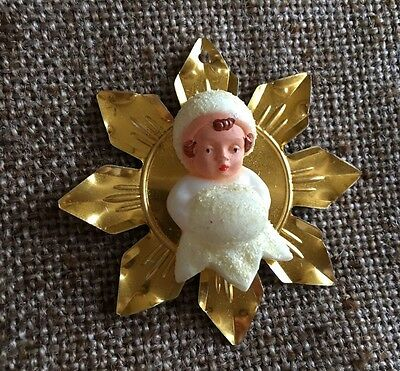 Vintage German Celluloid Ivory Angel Snow Baby with Muff,Gold Foil Star Ornament