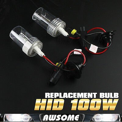 2x H3 100W HID Xenon Headlamp Replacement Car Auto Light Bulbs 6000K Cool White