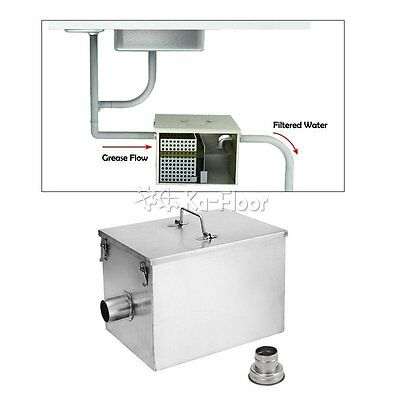 8LB 5GPM Gallons Per Minute Kitchen Grease Trap Stainless Steel Interceptor NEW