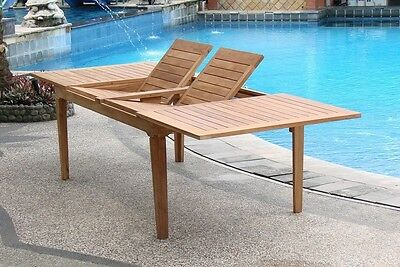"""9 Pc Teak Outdoor Dining Set 122"""" Double Extn Rect Table, 8 Devon Armless Chairs"""