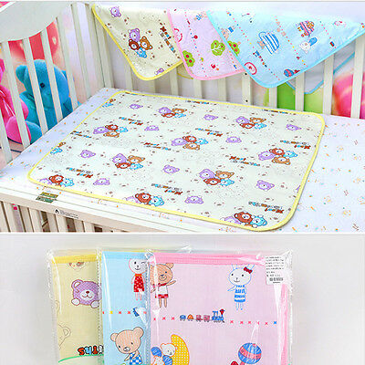Cotton Baby Foldable Waterproof Reusable Urine Pad Cover Diaper Changing cute