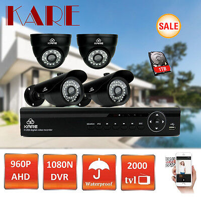SMART 1080N 4CH DVR ADVANCED Security CCTV System 960p HD VandalProof Camera 1TB
