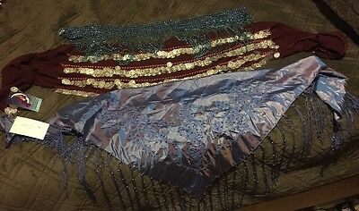 Belly Dance Scarfs and Belt (Lot of 3 Pieces) Coin Scarf, Fringe Wrap, Bead Belt