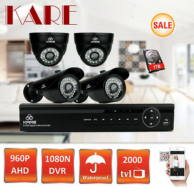 SMART 1080N 4CH HDMI DVR 960p HD Vandal Proof Camera In/ Outdoor CCTV System 1TB