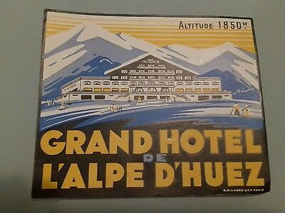 Ancienne étiquette Hotel Alpe d'Huez old label hotel bagage luggage