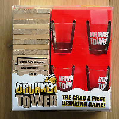 Drunken Tower Wood Stacking Party Drinking Game For Four, SEALED NIB.