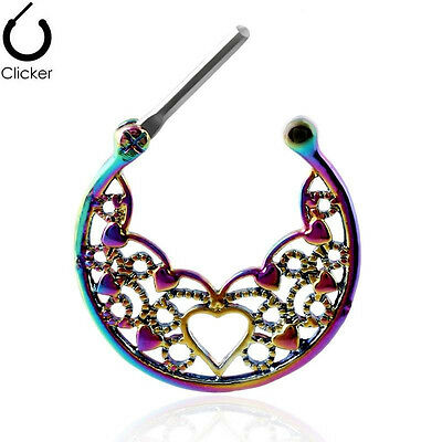 Septum 16G Nose Hoop Ring Daith Earring Clicker Nose Stud Gothic Body Piercings
