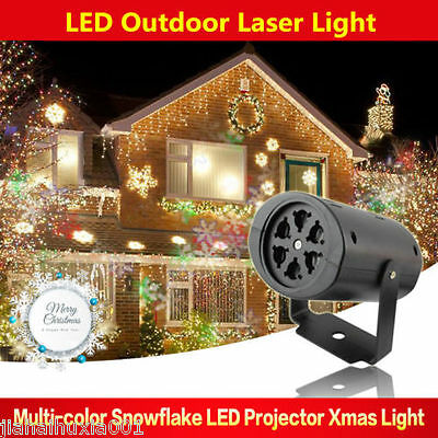 Outdoor Holiday Xmas Moving Snowflake Laser LED Landscape Light Garden Projector