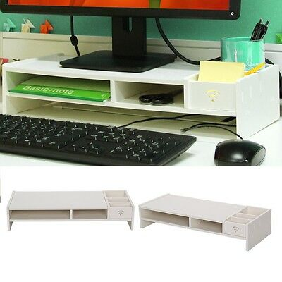 White Desktop Monitor Stand Computer Screen Riser Wood  Shelf Plinth Laptop