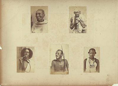 Group Of 5 Photos Of Arab People From Aden In Sudan c1880s