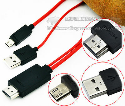 2M MHL Micro USB to HDMI 1080P Media HD TV HDTV Cable Charger for Phone & Tablet
