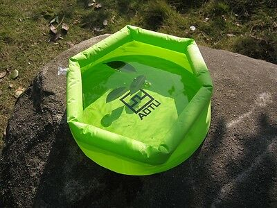 8L Outdoor Foldable Inflatable Water Washbasin Wash Bag Camping Green W2E8