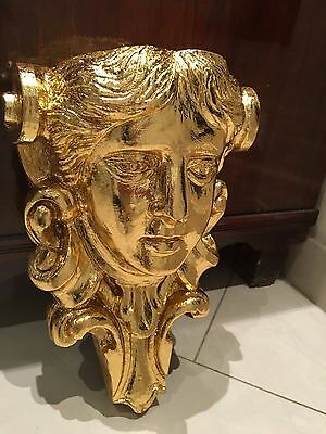 Antique French 19th C carved wood neoclassical Angel Face Head Corbel Pediment