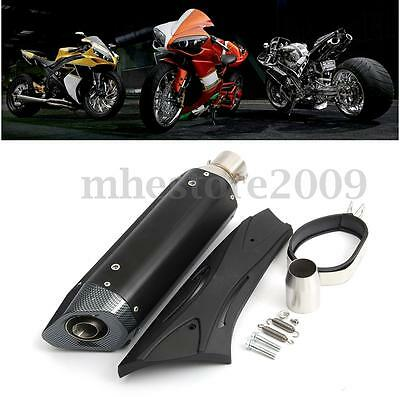 36-51mm Motorcycle Exhaust Muffler Pipe w/ Silencer & Cover Guard Universal NEW