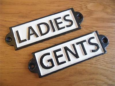 Vintage Black & White Style Cast Iron Wall Signs Door Plaques *Ladies* & *Gents*