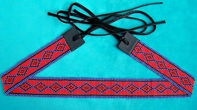 """""""apache Red"""" Cowboy & Indian Beaded Hatband"""