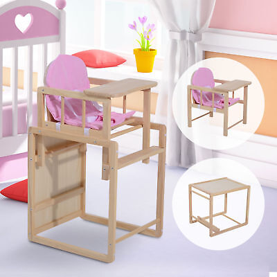 HOMCOM Baby Highchair Infant Feeding Detachable Seat Toddler Table Wooden Pink