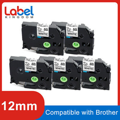 10PK 12mm Label tape For Brother P-Touch PT-1100 TZ-231 TZe-231 Black on White