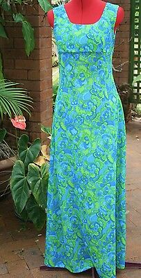 VINTAGE DRESS FORMAL 70s 'A' Line, Sleeveless FLOWER Power HIPPIE look, size 12