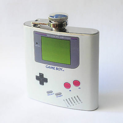 HIP FLASK 6oz GAME BOY Stainless Steel Alcohol Whiskey Liquor Pocket Flask