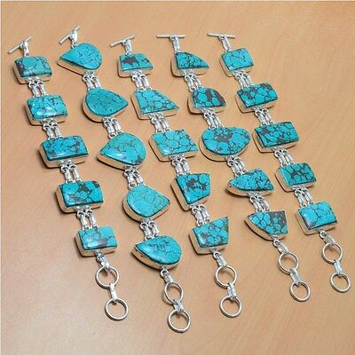 Wholesale Lot 5Pc 925 Silver Plated Natural Turquoise Stylish Bracelet Jewelry