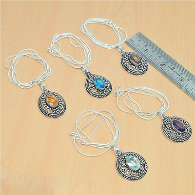 Wholesale 5Pc 925 Silver Plated Faceted Smokey & Mix Stone Pendant & Chain Lot