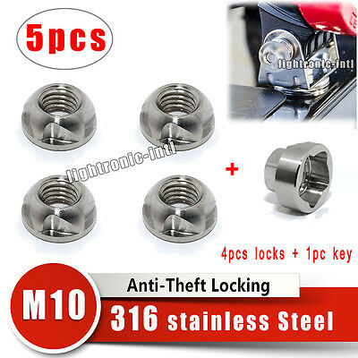 4X 316 Stainless steel Anti Theft Security Lock Nut +Tool For Led Spot Light Bar