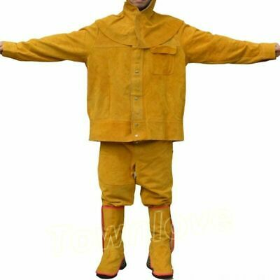 Brown Flame-Resistant Leather Welders SET Welding Jackets & Pants Work Clothing