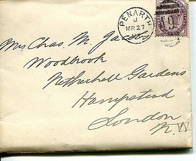 Entire letter from PENARTH to London with duplex cancel 1894