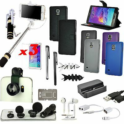 Leather Case Cover Charger Fish Eye Selfie Monopod Kti For Samsung Galaxy Note 4