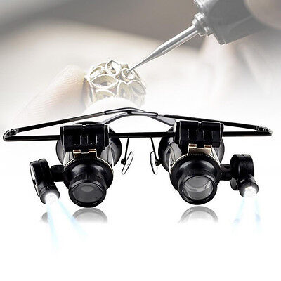 High Quality Double Eye Glasses Type 20X Watch Repair Magnifier with LED Light S
