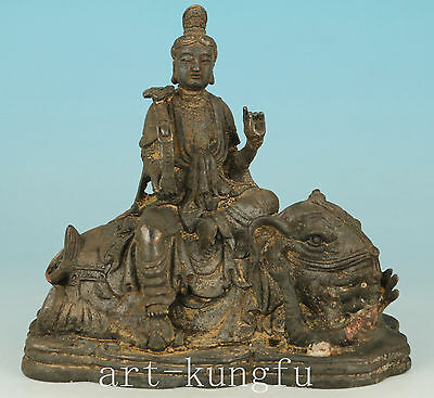 Blessing Chinese Old Bronze Handmade Carved Kwan-yin Buddha Statue Decoration