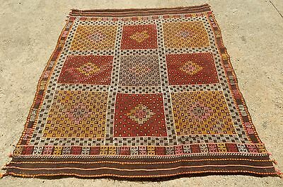 "UNUSUAL  TURKISH ORIENTAL RUG TRIBAL CHECKERBOARD EMBROIDERY WEAVE SIZE 5'4""x 6'"