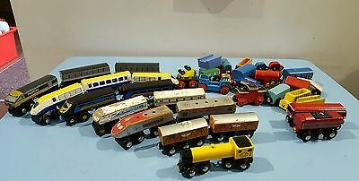 Large Bundle Of Wooden Trains And Carriages Including Intercity And Euro Shuttl
