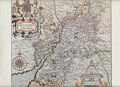 Gloucestershire by William Hole 1607; Reproduction Map