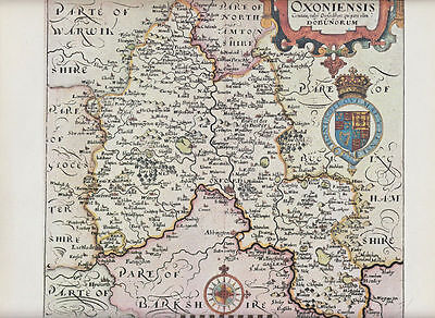 Oxfordshire by William Hole 1607; Reproduction Map