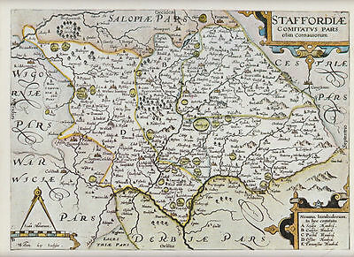 Staffordshire by William Kip 1607; Reproduction Map