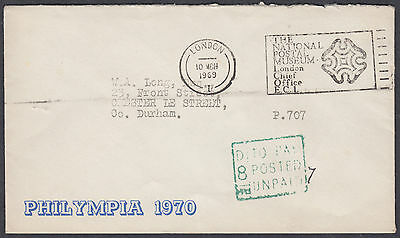 1970 Philympia; National Postal Museum Slogan; Postage Due i.e. To Pay Cachet