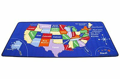 US Map Carpet Educational Learning Rug Bed Room Child Toddler Day Care Play Mat