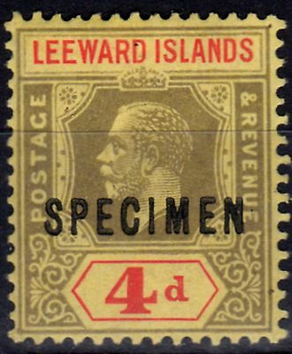 Leeward Islands 1912 4d Black & Red-Pale Yellow Specimen SG52s Fine Mtd Mint