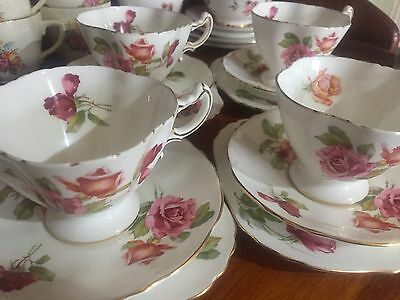 Hammersley Morgans Rose Set Of 4 Trio Cups Saucers Plates