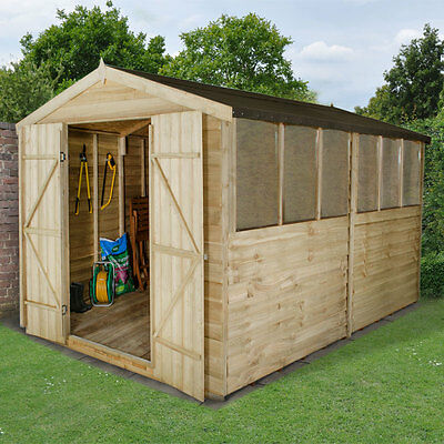 Overlap Apex Pressure Treated 12x8 Wooden Forest Shed Workshop 12FT 8FT Storage