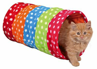 New Trixie Cat Kitten Puppy Colourful Rustling Fleece Play Tunnel ø 25×50cm 4291