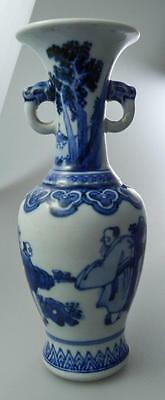 Marked Old Chinese Blue+White Vase Figures In Landscape Elephant Handles