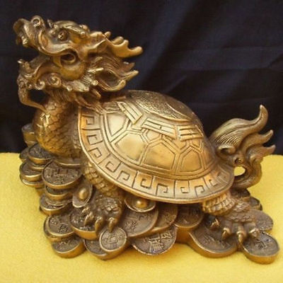 lucky Chinese famous brass Fengshui Dragon Turtle Statue